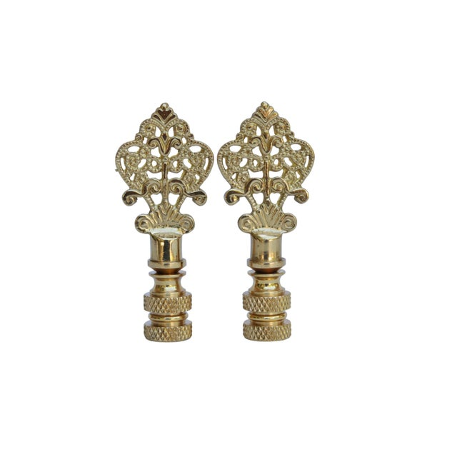 Asian Small Fancy Brass Lamp Finials - a Pair For Sale - Image 3 of 3