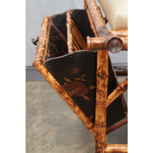 English Victorian Bamboo bench with Lacquered Panels For Sale - Image 3 of 6