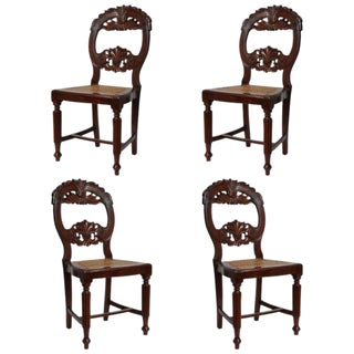 Set of Four Rare 19th Century Portuguese Goa Rosewood Dining Chairs For Sale