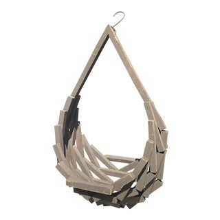 1970s Mid Century Geometric Wood Hanging Plant Basket For Sale