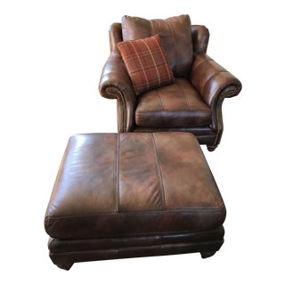 Century Leather Chair and Ottoman