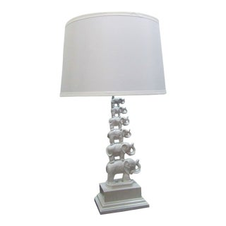 Stacked Elephant Lamp in White With Linen Drum Shade For Sale