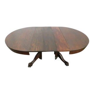 1900s Traditional Tiger Oak Claw Feet Dining Table With Three Leaves For Sale