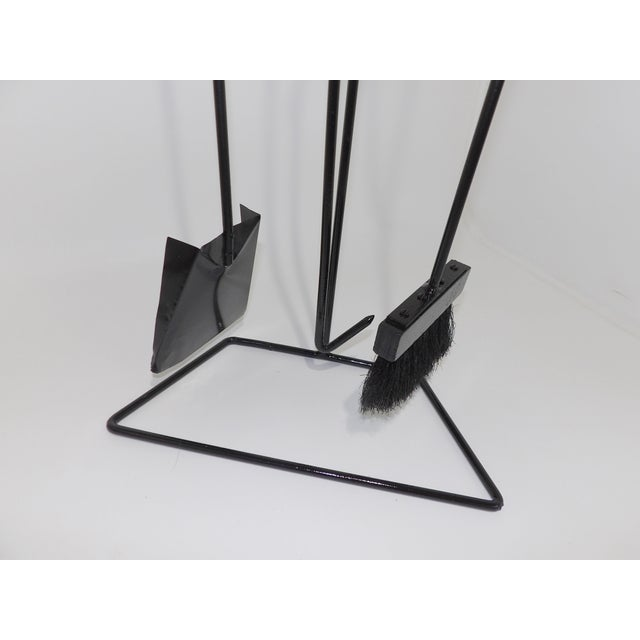 Metal Mid-Century Modern Wrought Iron Fireplace Tool Set For Sale - Image 7 of 9