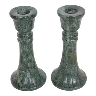 Green Marble Candle Holders - A Pair