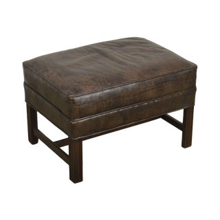Chippendale Style Brown Leather Ottoman For Sale