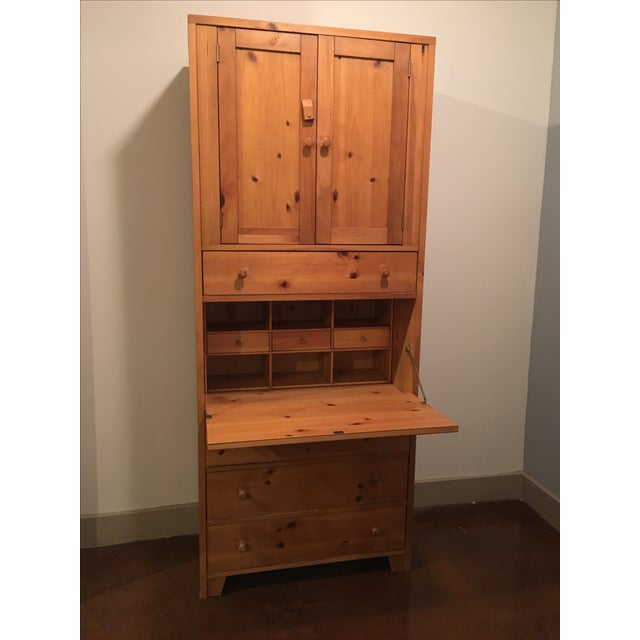 Wooden Cabinet With Hutch and Drawer - Image 2 of 6
