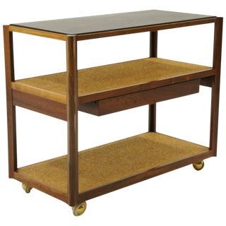 Serving Cart by Edward Wormley, Rosewood Frame, Black Slate Top, Cork Shelves For Sale