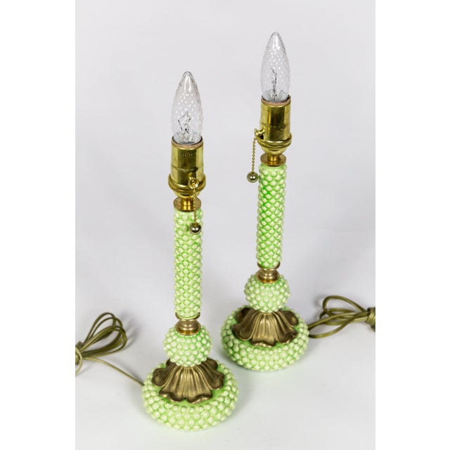Mid Century Green Hobnail Ceramic and Brass Lamps - a Pair For Sale In San Francisco - Image 6 of 9