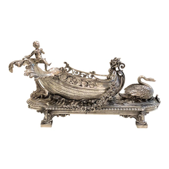 Antique French Silvered Bronze Centerpiece, Circa 1890. For Sale