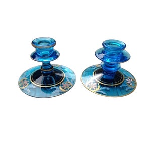 Vintage Glass Candleholders - a Pair