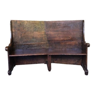 19th Century Tall Angled Wood Bench For Sale