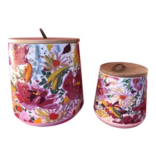 Vintage Inspired Floral Pottery Lidded Cannister Set - 2 Pc. Set For Sale