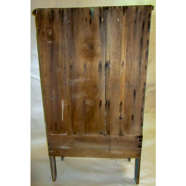 American 19th Century American Primitive Southern Pie Safe With Distressed Blue Paint For Sale - Image 3 of 13