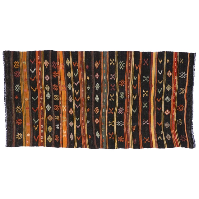 Turkish Tribal Design Kilim - 6′5″ × 12′ For Sale