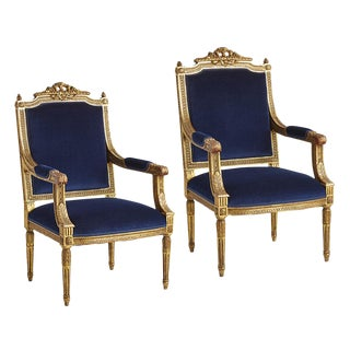 Pair of Giltwood Louis Xvi Fauteuil Armchairs W/ Rich Blue Velvet Circa 19th Century