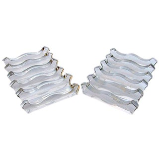 Sculptural French Glass Knife Rests, Set of 12 For Sale