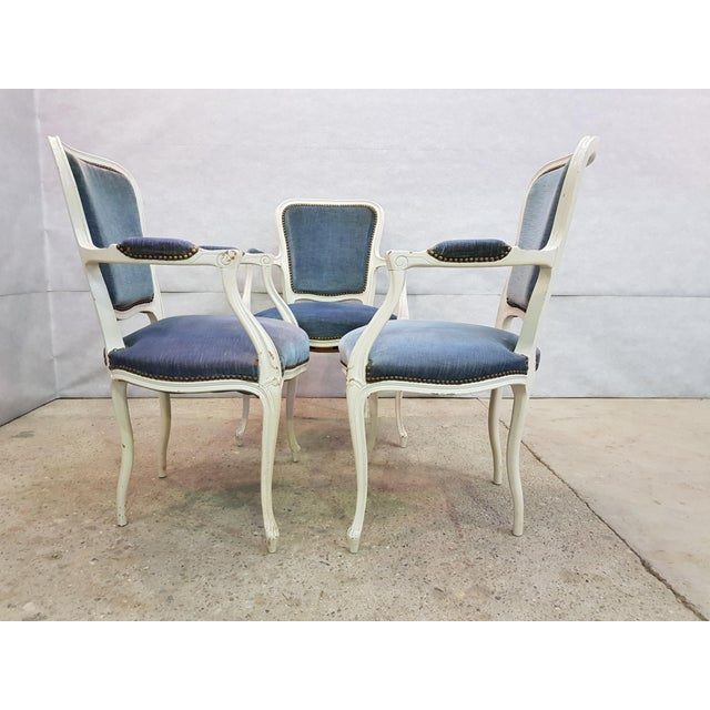 Oak Set of 3 Large French Vintage Whitewashed Velvet Blue Upholstery Louis XV Armchairs For Sale - Image 7 of 13
