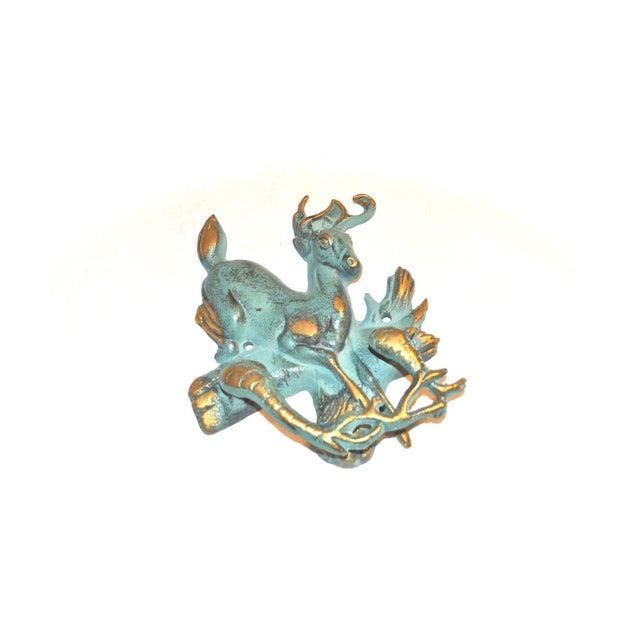 Metal Verdigris and Gold Stag Door Knocker For Sale - Image 7 of 9