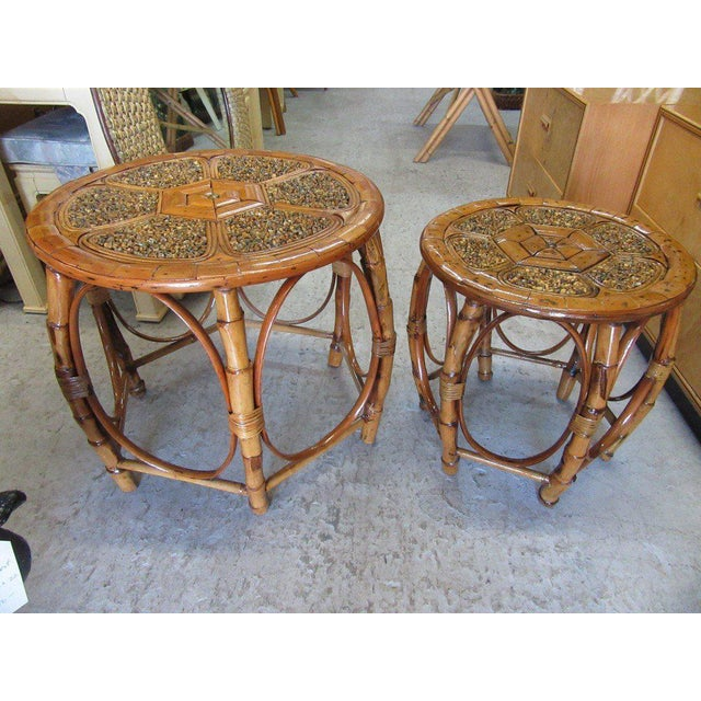 Island Style Drum Tables - a Pair - Image 2 of 10