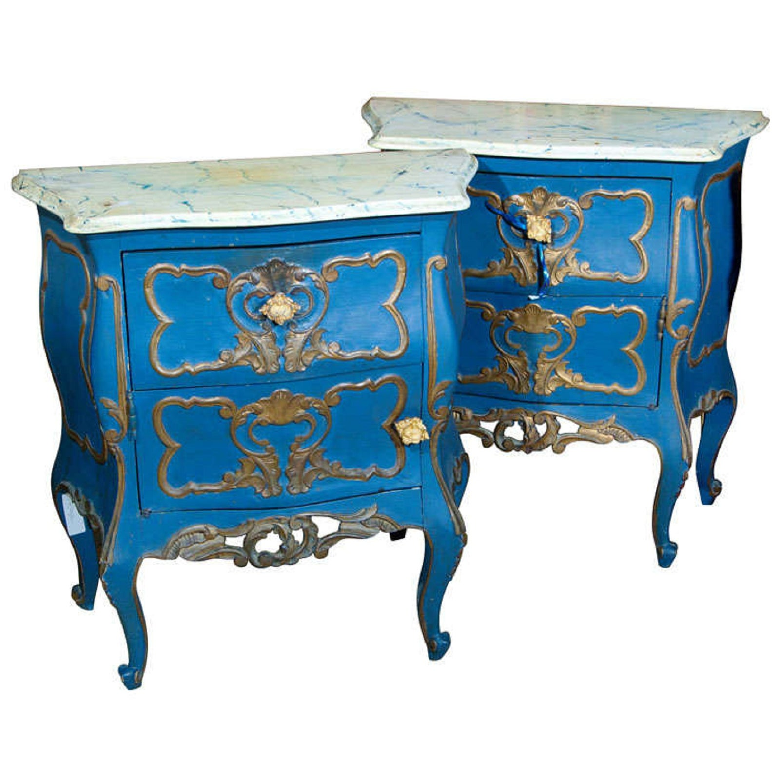 French Rococo Style Painted Bombe Commodes - A Pair   Chairish