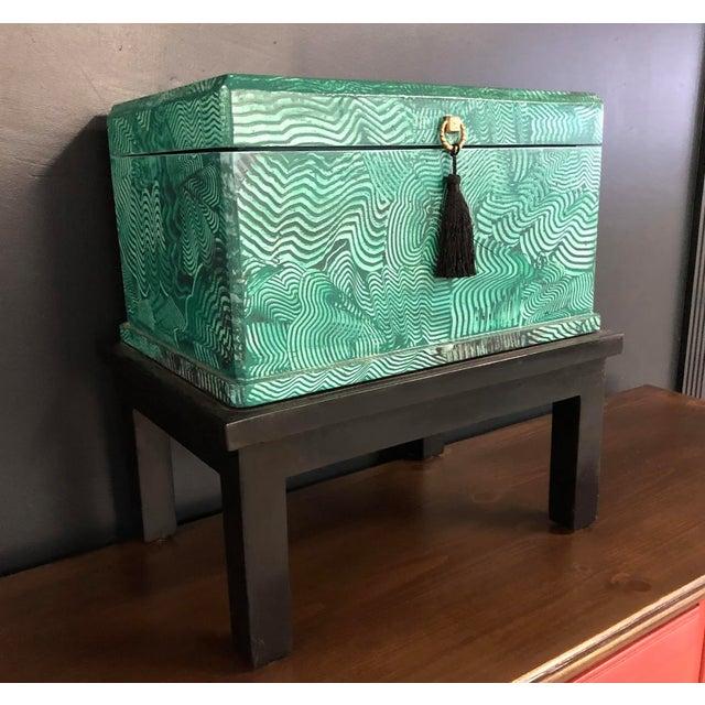Modern 1960s Vintage Faux Malachite Box For Sale - Image 3 of 9