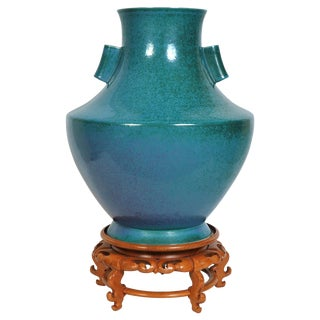 Large and Heavy Glazed Porcelain Floor Vase