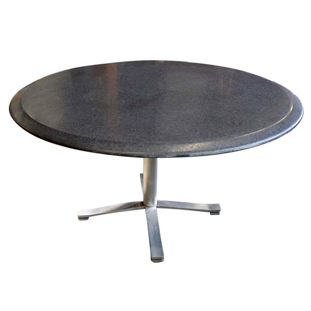 Zographos Beveled Marble Top Table With Steel Base For Sale