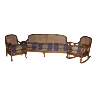 Antique Three Piece Set; Cane-Back Sofa, Chair and Rocking Chair