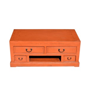Orange Lacquered Low Chest, Tv Stand For Sale