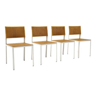 Four Steel Frame Dining Chairs by George Nelson. White Frames,Cane Seats / Backs