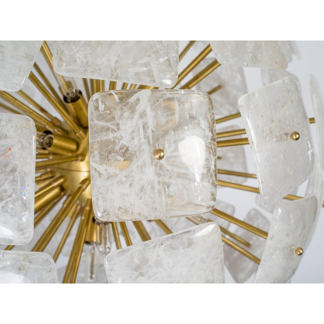 "Large Sputnik chandeliers composed of solid brass body and 65"" square convex rock crystal elements. All crystals were..."