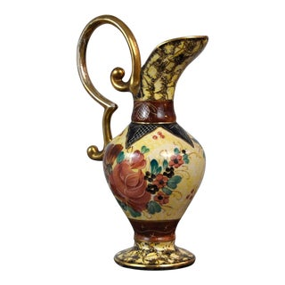 Vintage Ceramic Ewer Amphora Pitcher Vase Belgian Hand Painted Flower Decor Gold Handle For Sale