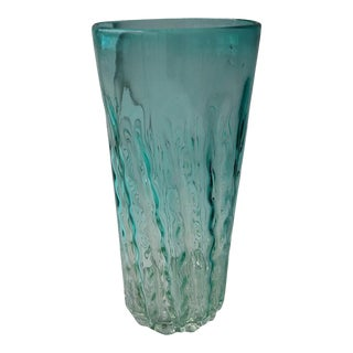 Aqua Wave Murano Glass Cylinder Vase For Sale