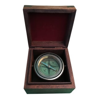 Vintage Nautical Compass in Wooden Box
