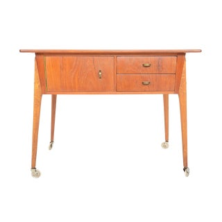 Danish Modern Atomic Teak + Oak Sewing Cart For Sale