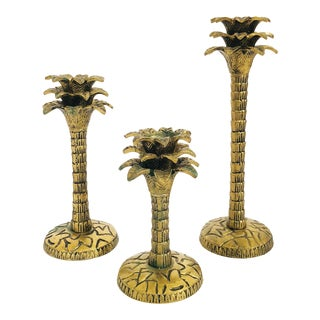 Vintage Graduated Brass Palm Candle Holders - Set of 3 For Sale