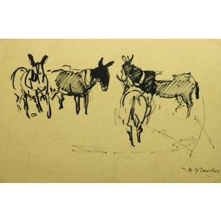 Jean Baptiste Grancher, French Ink Painting - Les Mules Dans Le Champ For Sale
