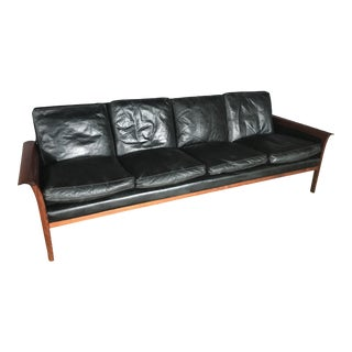 Vintage Mid Century Knut Saeter for Vatne Mobler Leather and Rosewood Four Seater Sofa For Sale