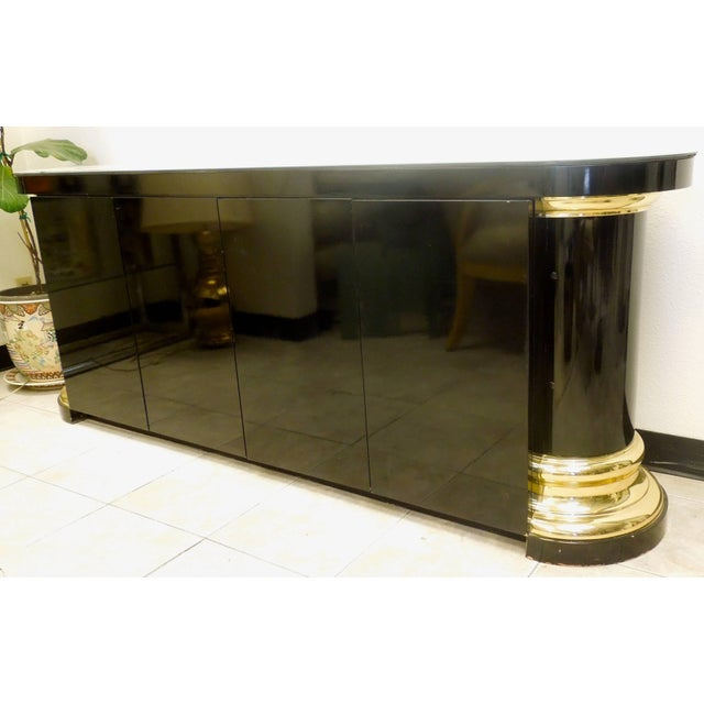 Mastercraft Masculine and Sexy Black and Brass Vintage 1970s Sideboard For Sale - Image 4 of 6