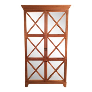 Oly Studio Wood & Antiqued Mirror Armoire For Sale
