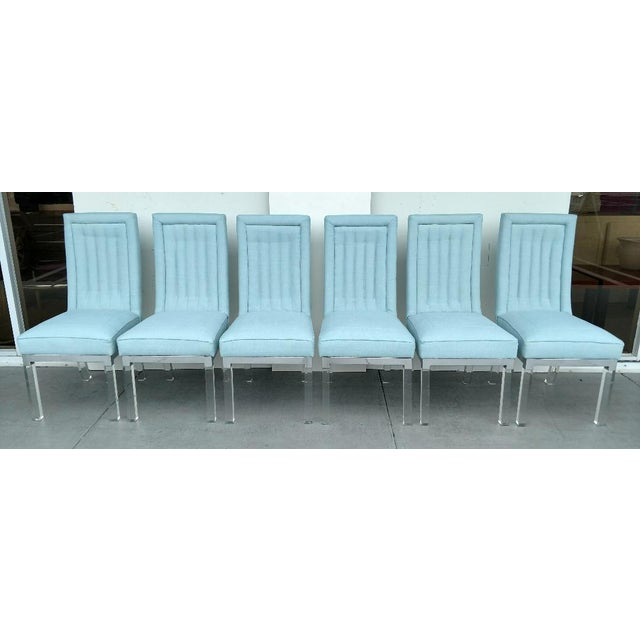 Charles Hollis Jones 1970's Lucite Legged High-Back Dining Chairs - Set of 6, Mid-Century Modern For Sale - Image 13 of 13