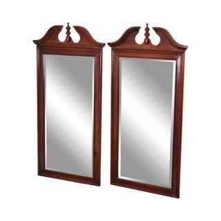 Traditional Pair Solid Cherry Wood Broken Arch Top Beveled Mirrors For Sale