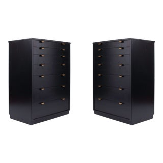 1940s Edward Wormley Mid-Century Black Lacquered Dressers - a Pair