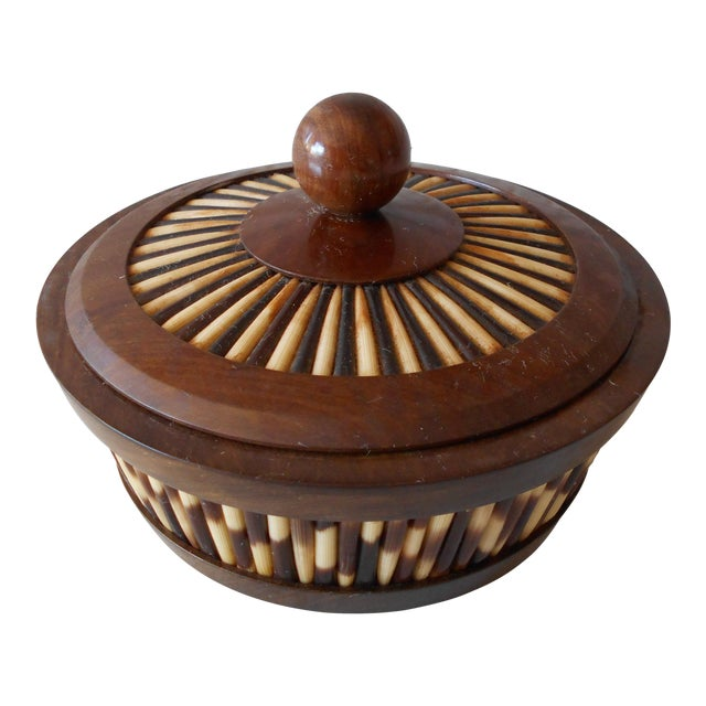 Ethiopian Olive Wood & Porcupine Quill Lidded Bowl For Sale