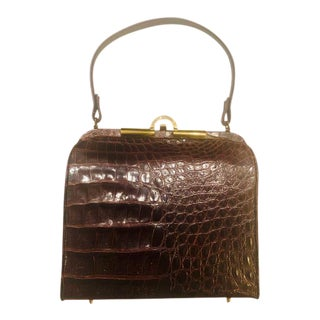 1960s Custom Brown Crocodile Leather Purse For Sale