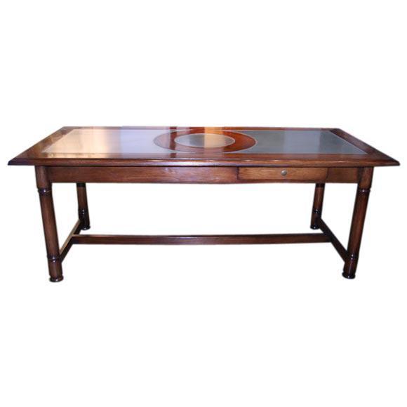 Italian 50's Inlaid Zinc Oak Table For Sale - Image 9 of 9
