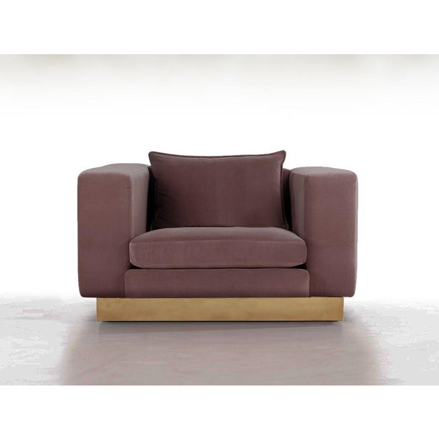 BOND Design Studio Contemporary Dusty Lavender Mohair Velvet Lounge Club Chair For Sale - Image 4 of 4