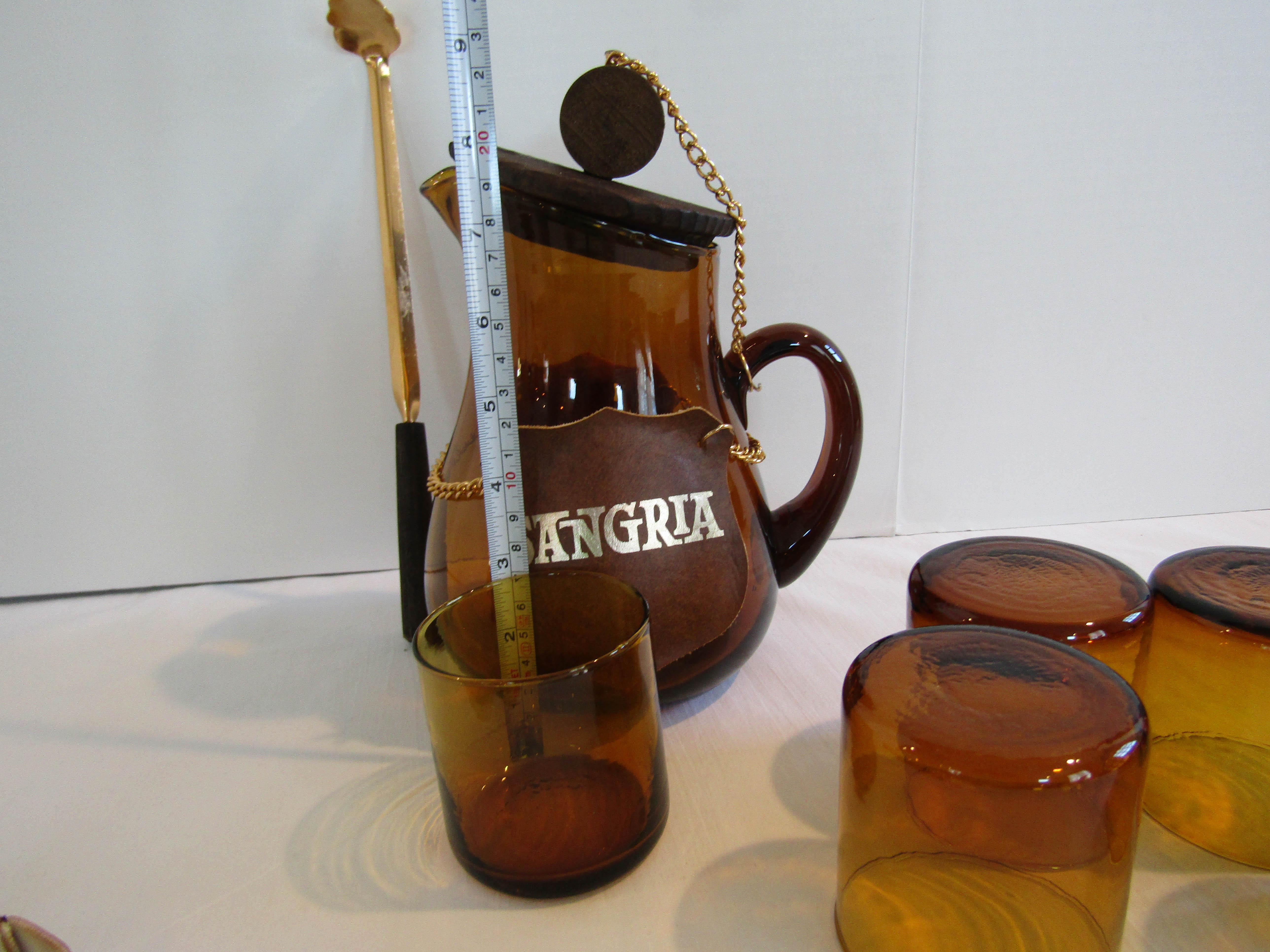 Sale Vintage 1970/'s Spanish Amber Glass /& Wood Sangria Pitcher and Glass Set Made in Spain Vintage Barware