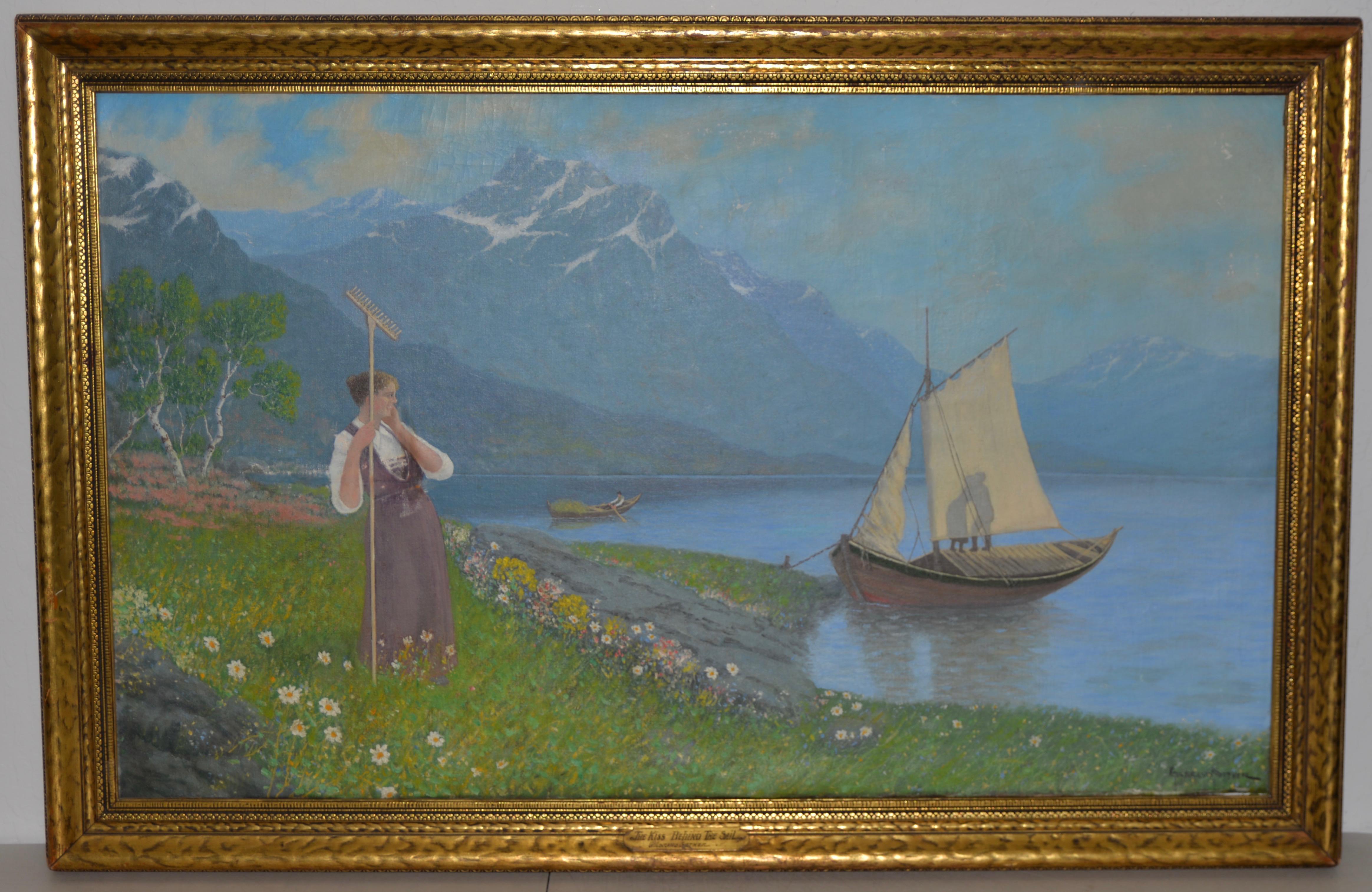 Gulbrand Sether 1869 1941 The Kiss Behind The Sail Original Oil